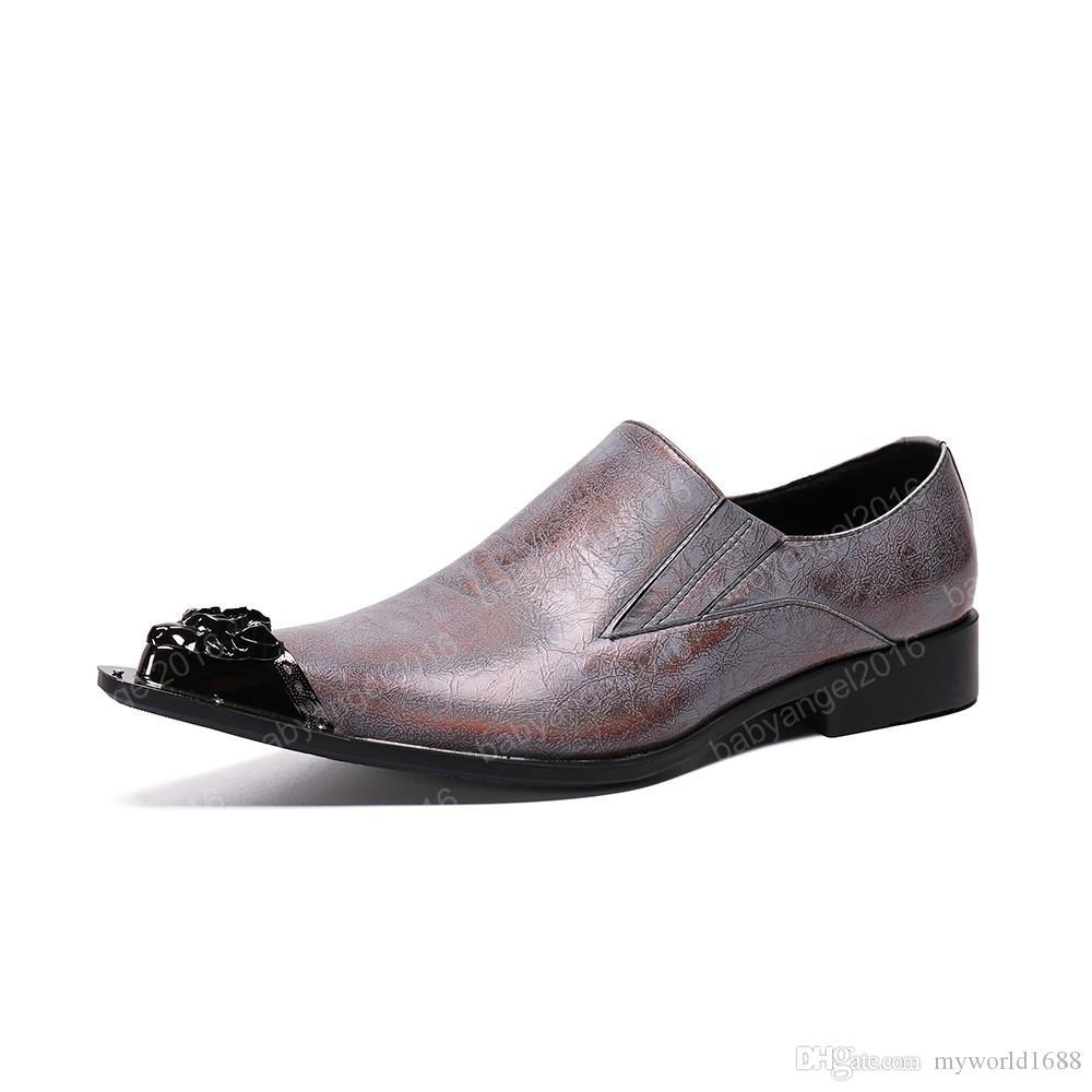 Homem estilo britânico do dedo do pé Pointed partido genuíno sapatos masculinos de couro Sapatos Buckle listra Masculino Tamanho Grande Shoes