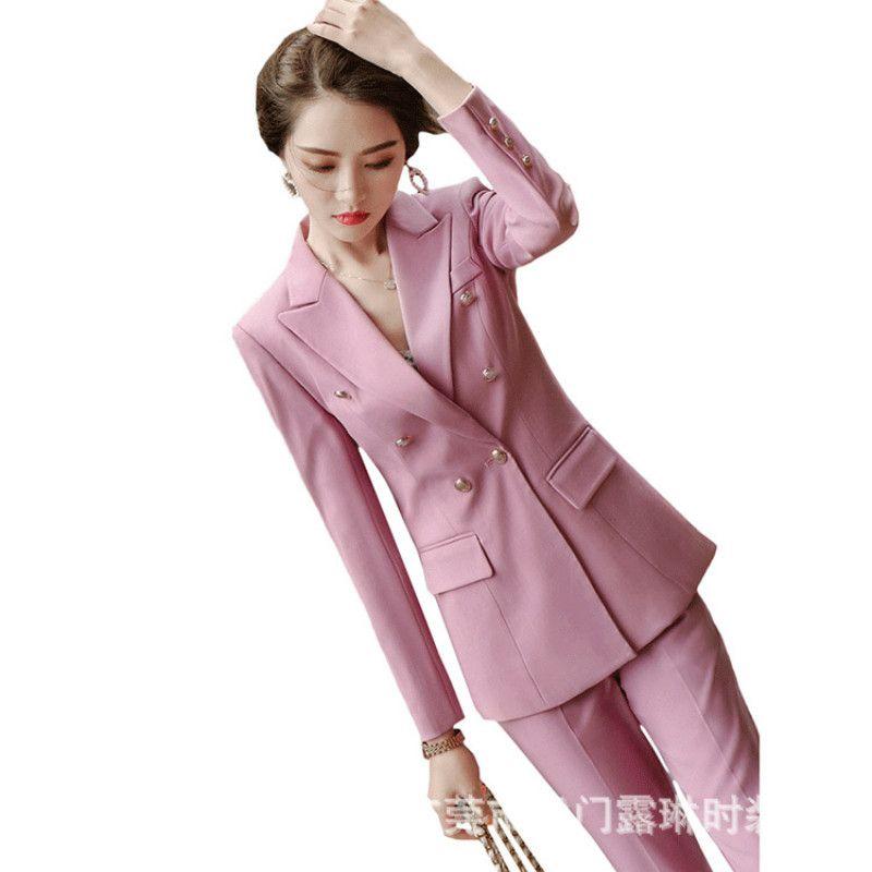 Fahion Temperament Hosen Anzüge Frauen 2020 Herbst neue beiläufige lange Hülsen-Blazer und Hosen Büro-Damen Arbeitskleidung Rosa