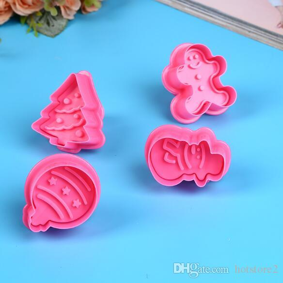 4pcs/set Christmas theme spring mold Cake decoration stamper Cookie mold Environmentally friendly material Creative fashion baking