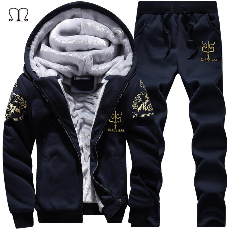 Sporting Suit Men Winter Track Suits Sets Men's Warm Hooded Sportswear Fleece Lined Thick Tracksuit 2PCS Jacket+Pants Set Male Y200704