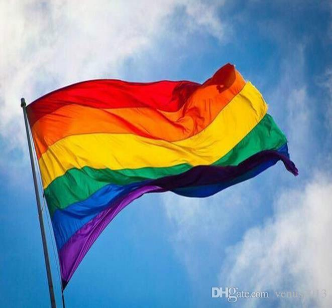 Bandeira do arco-íris 3x5FT 90x150 cm Gay Orgulho Lésbico Bandeira Poliéster Colorido Rainbow Bandeira Orgulho LGBT Paz Bandeiras