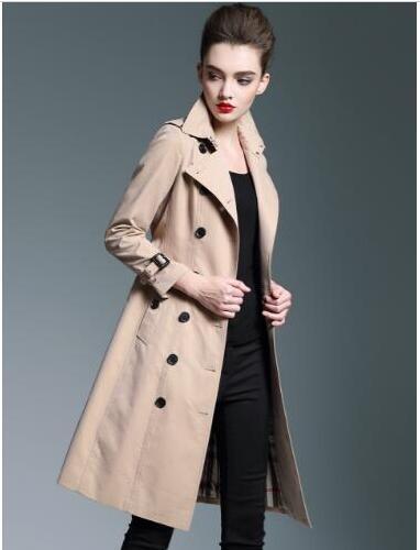 Angleterre Marque Femmes Solide Trench-Coat X-Long Coton Londres Brit Brit Vestes Haute Qualité Classique Casual Outwear Kaki Taille S-XXL