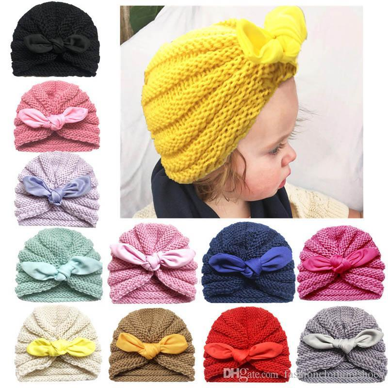 New Cute Autumn Winter Baby Hat bows Newborn Caps Hats Infant Knitted Beanie Hat Kids Crochet Knit Hat Baby Girl Hats