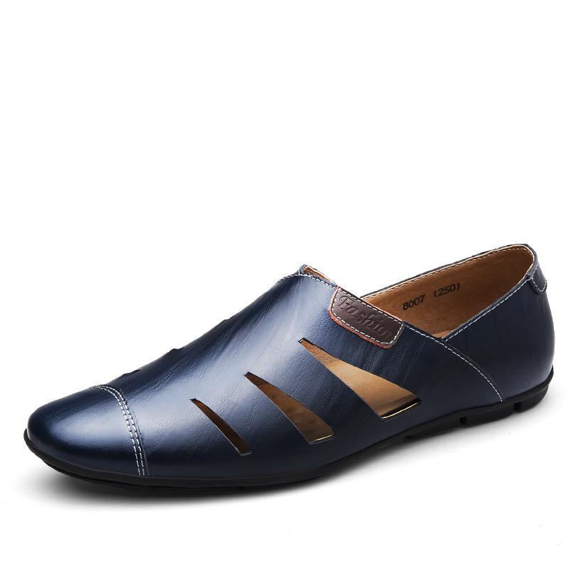 Hot Sale-spaccato della mucca di cuoio di lusso Sandles pistoni di estate Giardino scarpe da uomo nuovo Nizza Sandalias Hombre