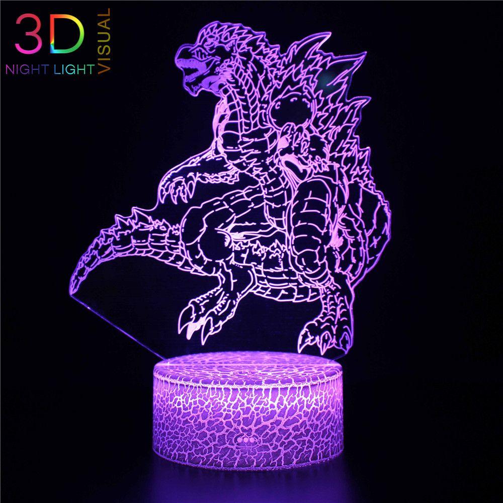 Tatil Hediyeler veya Ev Dekorasyon için ZOEY 3D Illusion Gece aydınlatması LED Godzilla 7 Renk Kademeli değiştirme Dokunmatik Anahtarı USB Masa Lambası
