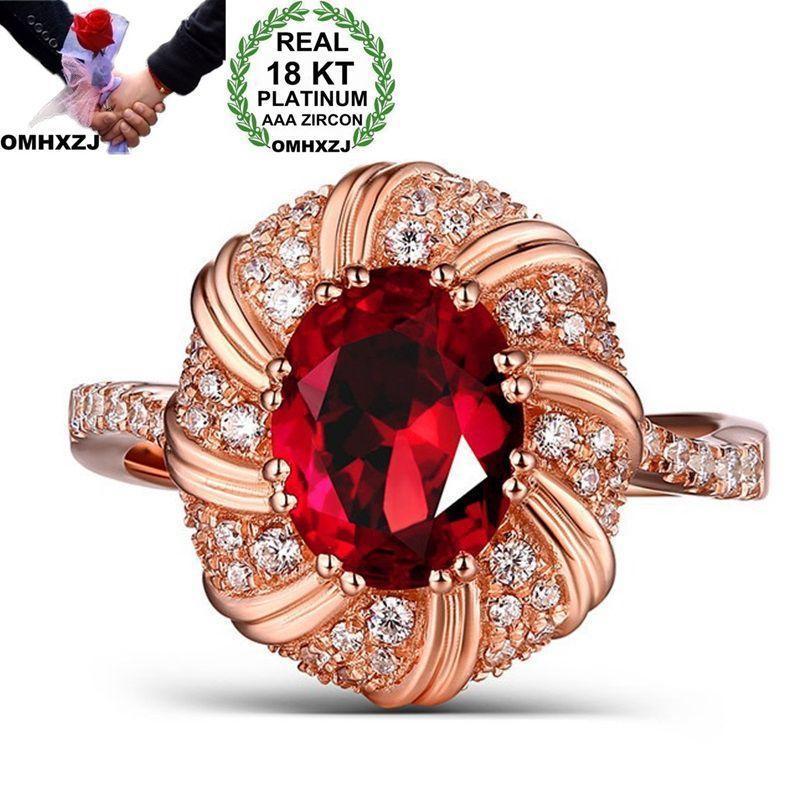 OMHXZJ Wholesale European Fashion Woman Man Party Wedding Gift Luxury White Red Oval Zircon 18KT Rose Gold Ring RR547