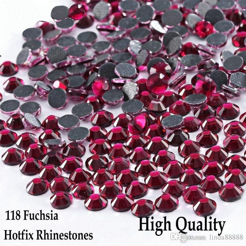 High Quanity Shiny Hotfix Rhinestones Fuchsia SS6 - SS30 Flatback Iron On Hotfix Rhinestones For DIY