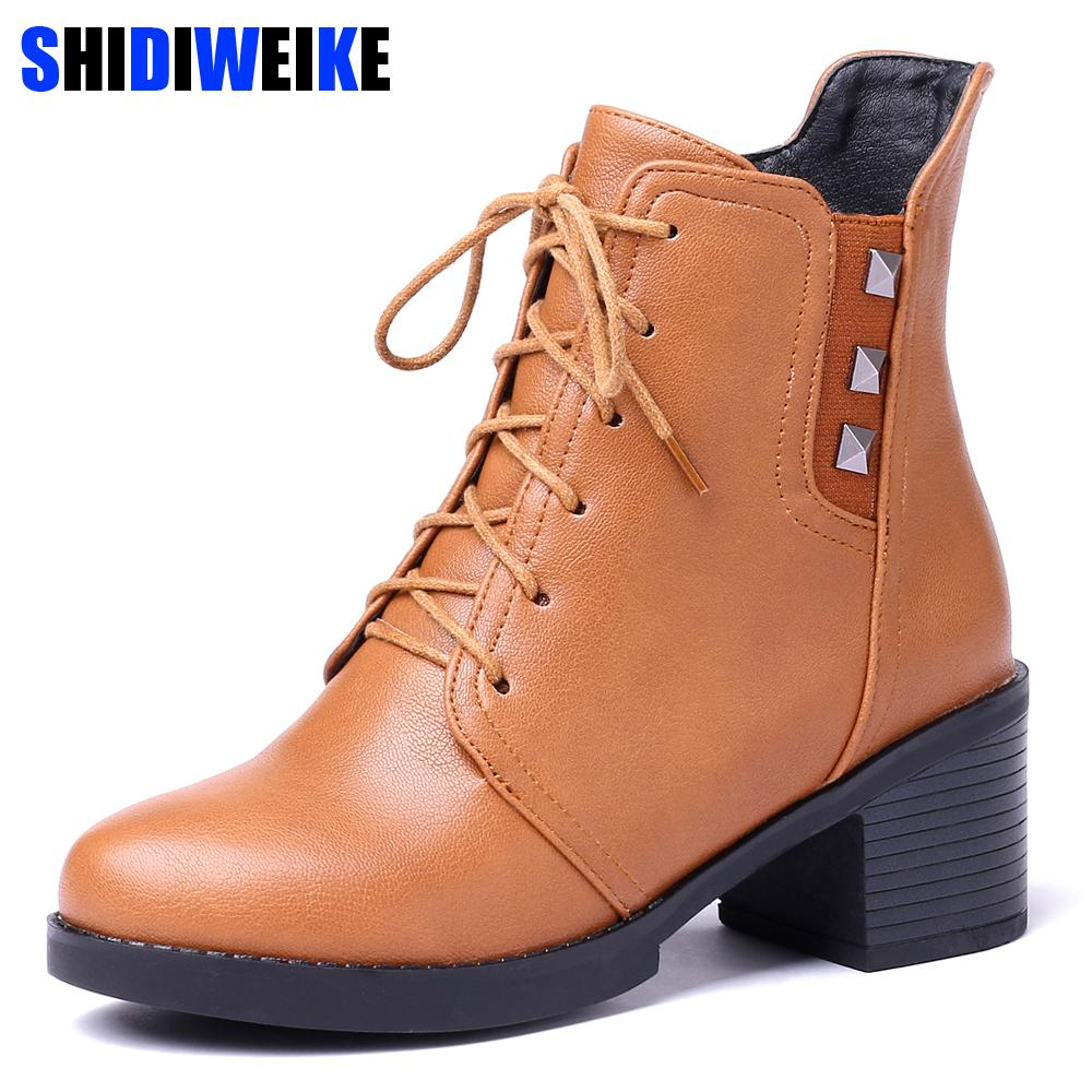 British Style Classic Women Motorcycle Boots Square heel Ankle Waterproof Hiking Ladies Vintage Rivet Shoes Women Boots n296