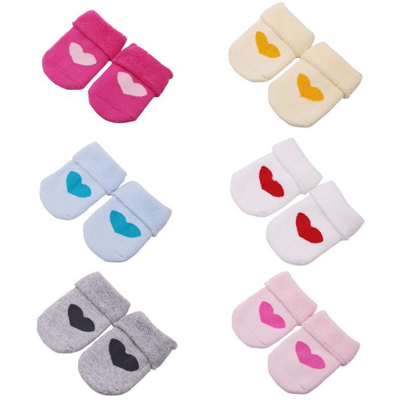 Мультфильм форме сердца носки младенца хлопка носки Skid для новорожденных ребёнки носки для мальчиков девочек Довольно высокое качество 1pair