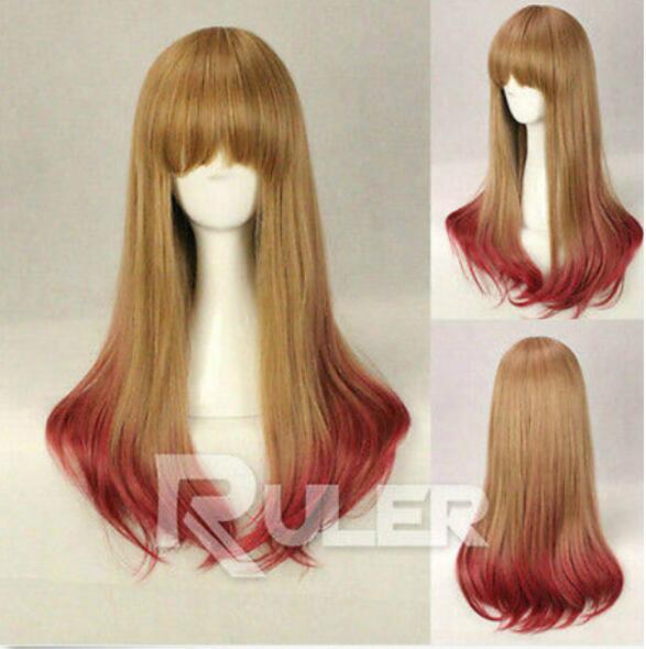 LIVRAISON GRATUITE + ++ 65cm X Long Charme Lolita Couleur Mixte Droit Anime Cosplay perruques