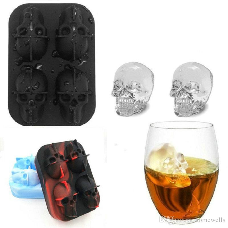 Ice Cube Maker Skull Shape Chocolate Mould Ice Cream DIY Tool Whiskey Wine Cocktail Ice Cube 3D Silicone Mold 20pcs Free Shipping