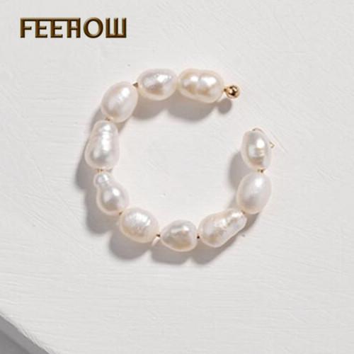 Pendientes del aro FEEHOW clásico con cuentas de FWEL488 joyería de los hombres la manera del partido de boda Mujeres Prom Compras Aniversario tendencia perla