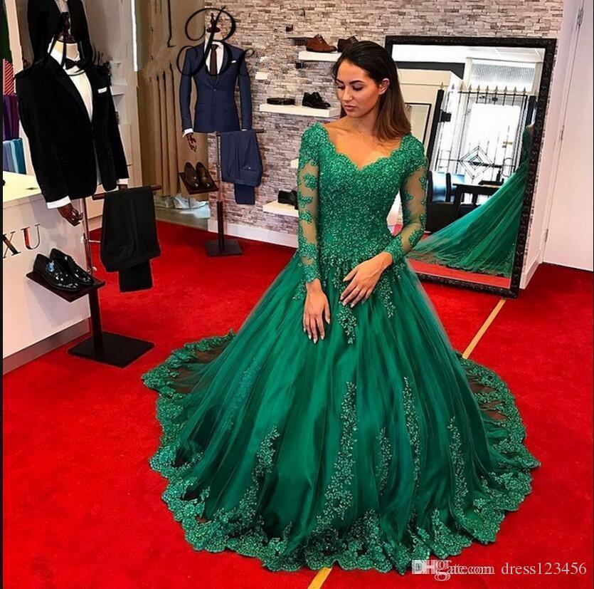 Vestido de fiesta 2019 Yeni Arapça Mütevazı Yeşil Balo Abiye V Yaka Sheer Uzun Kollu Robe De Soiree Örgün Balo Elbise 2019
