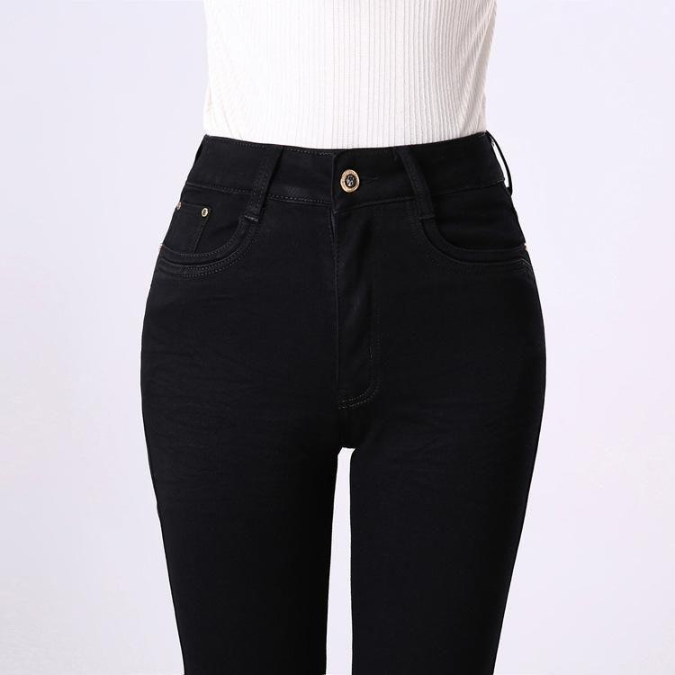 Bahar Siyah Kot Anne Düz Kot Pantolon Artı boyutu Kadınlar Pantolon Yüksek Waisted Sıkı Büyük Beden Bayan Kot