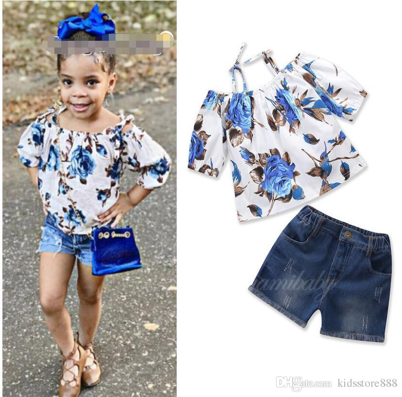 2019 new children's clothing Wear Summer New Baby Girls Set Floral Sling Tops + Denim Shorts suit kids clothes
