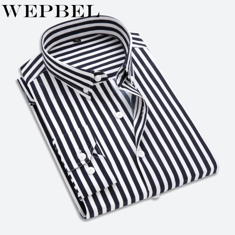 WEPBEL Mode Nouveau manches longues pour hommes Chemisier Mode Chemises homme Chemises Striped Formal Dress