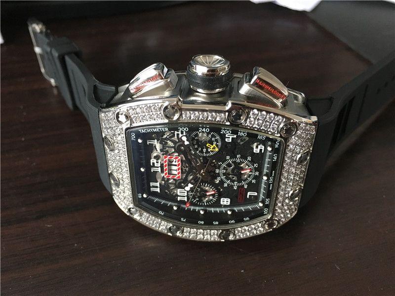الرجال وصول الجديد الرياضة ووتش أعلى جودة ذكر الساعات ساعة اليد الميكانيكية هيكل عظمي الماس الاتصال الهاتفي مدي حزام من المطاط الأسود 020