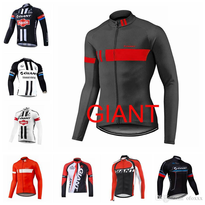 GIANT team Cycling long Sleeves jersey Men's Outdoors MTB Running Bicycle NEW T-Shirt Riding Bike Clothes Sportwear D1005