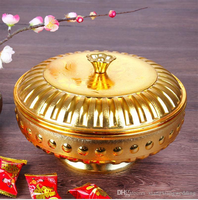 Caja de dulces cubiertas chinas giratorias con la decoración de la mesa de la base apoyos de la boda auspicioso celebración fruta plato dorado rosa dorado