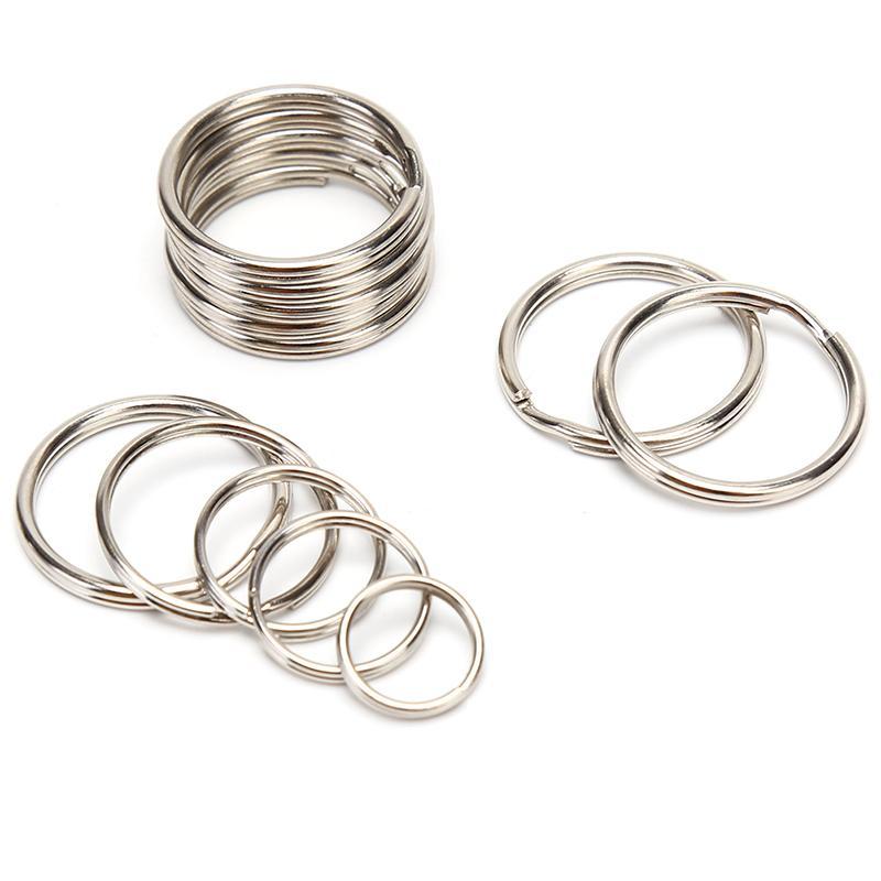 100PCS Dia 12 15 16 20 milímetros de aço inoxidável polido DIY cadeia anel da separação Chaveiros Key Titular Hoop loop Key