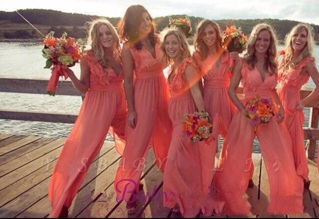2020 Nova Chique Chic Chifton Cheap Coral Dridade Dria Vestidos Longo Jumpsuits V Neck Plus Size Beach Wedding Guest Dress Festa de vestido de presentes