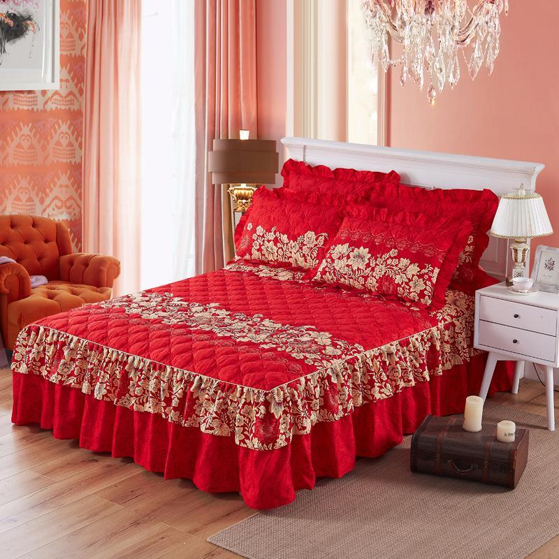 꽃 침대 커버 로즈 시트 장착 밝은 빨강 핑크 침대 스커트 침대보 결혼식 집들이 선물 호텔 장식 4 크기 4 색