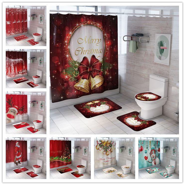 Grupo de cortina de chuveiro de Natal com esteiras de banho pedestal tampa de banheiro impermeável poliéster banho cortina casa decoração casa de banho acessórios