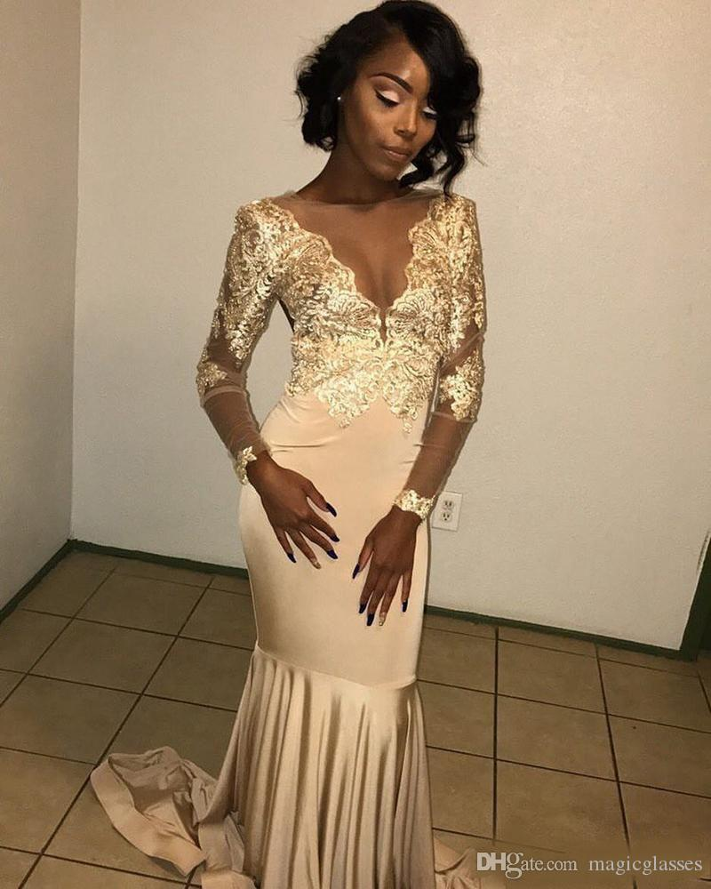 African Lace Appliqued South African Gold Prom Dress Mermaid Long Sleeve Banquet Evening Party Gown Custom Made Plus Size Sexy Red Prom Dresses Short