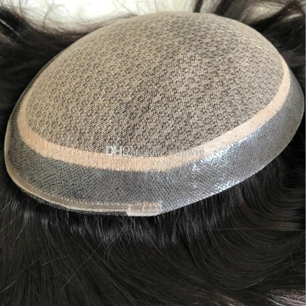 Homens peruca de cabelo completo Toupee Straight Full Silk Base Base Toupee Black # 1B Substituição de Cabelo Humano Virgem Indiana para Homens Frete Grátis