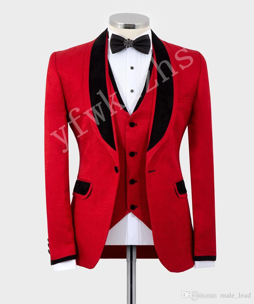 Красивый Groomsmen шаль лацкане жениха смокинги мужские Свадебное платье Человек куртка Blazer Пром Dinner 3 шт Костюм (куртка + штаны + Tie + Vest) B370