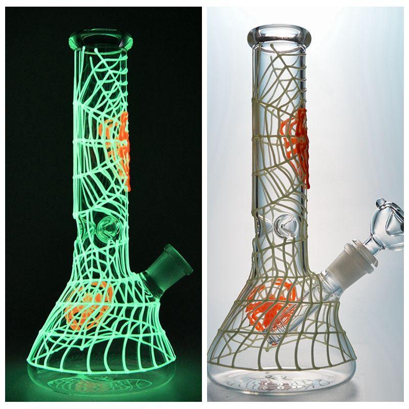 14.5mm Ortak GID02 Koyu Cam Bong Örümcek Web Bongs Su Boruları Örümcek Web Örümcek Ağı Modeli Dab Petrol Sondaj içinde Glow