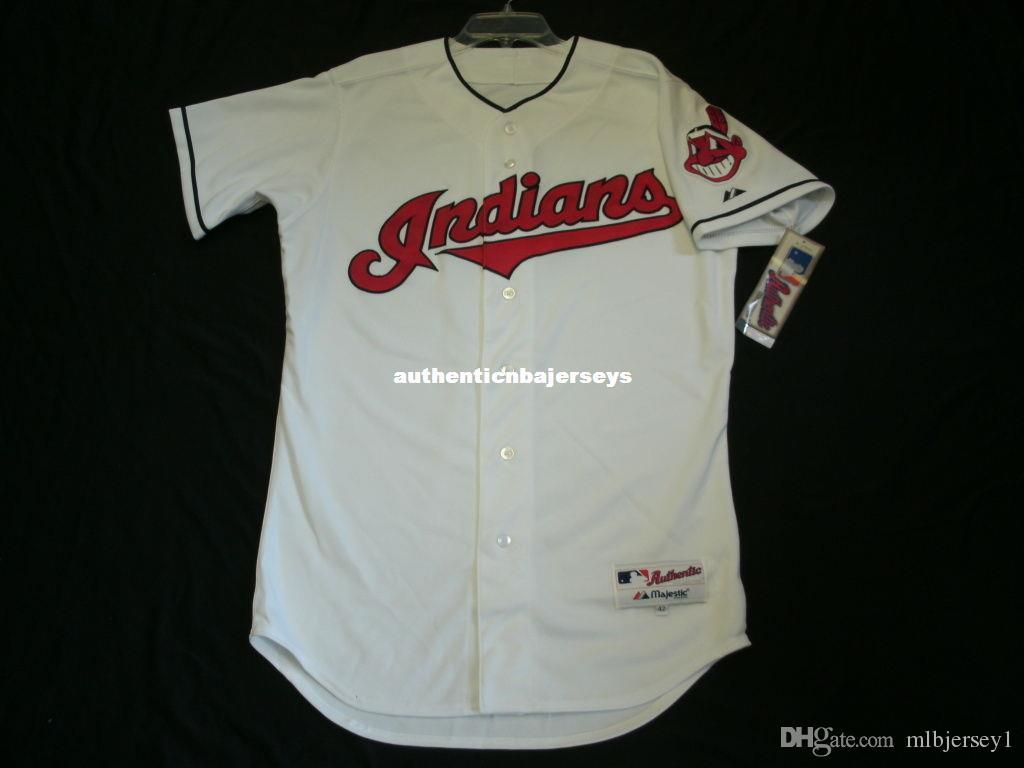 Günstige MAJESTIC CLEVELAND leer WEISS AUF FELD Jersey Mens genähtes, SHARP Großhandel groß und hoch Größe XS-6XL Baseball-Shirts