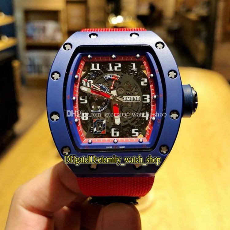 Yüksek sürüm RM 030 SERAMİK Seramik Vaka İskelet Büyük Tarih Çevirme Japonya Miyota Otomatik RM030 Erkek İzle Naylon Kayışı Spor Tasarımcı Saatler
