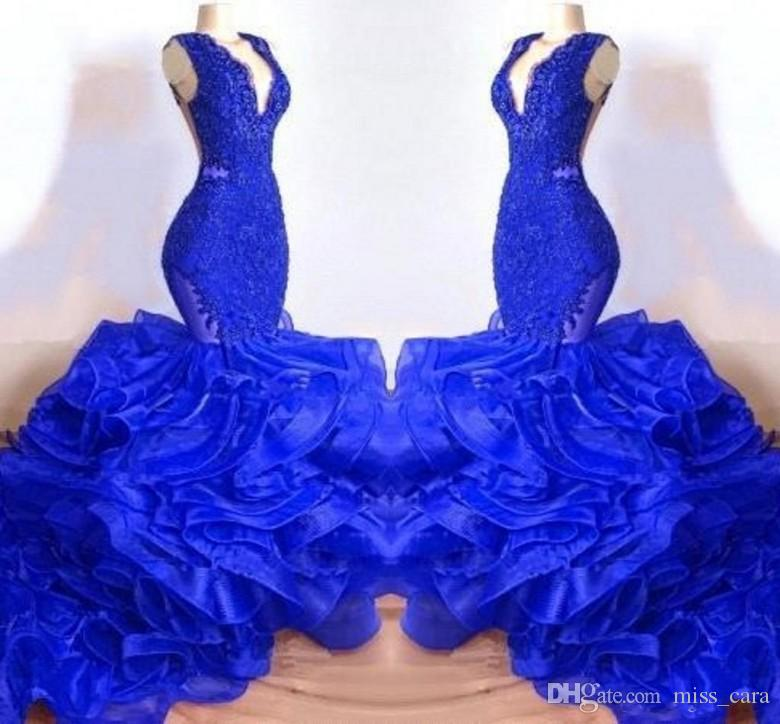 New Organza Royal Blue Mermaid Prom Dresses V Neck Sheer Backless Long Beautiful Layer Ruffles Dresses African Evening Wear Gowns for Woman