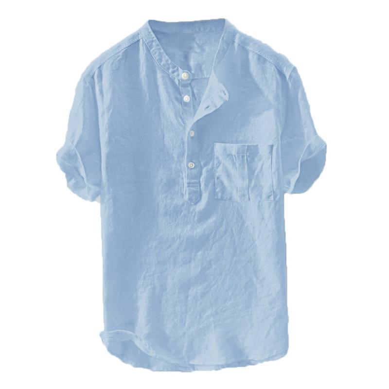 Mens Casual Shirt camice a maniche corte in cotone lino uomini sciolti collare Hanging tinti Gradient shirt Chemise Homme trasporto # Y4