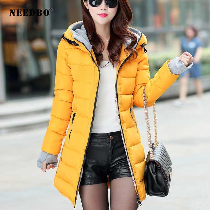 Jacket NEEDBO Long Down Mulheres ultra-leve camada de Down Inverno Oversize Outono-Inverno Quente soprador jaqueta Brasão Lady Parka
