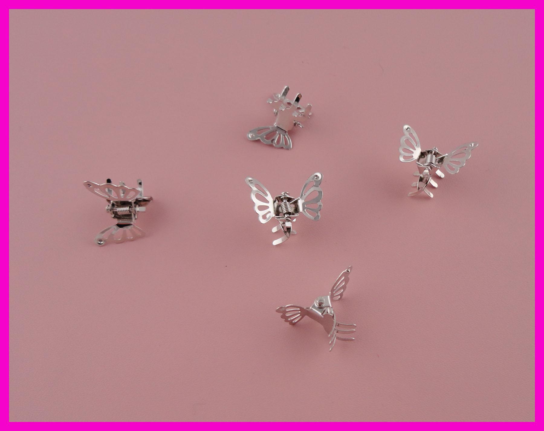 مخلب الشعر 50 قطع الفضة النهاية مصغرة تخريمية فراشة عادي معدن مخلب المشابك الشعر في جودة خالية من الرصاص والنيكل ، صفقة ل بالجملة