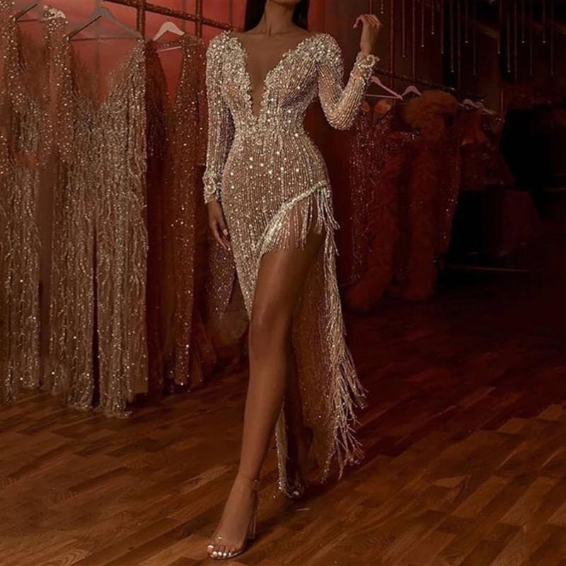 V elegante Neck mangas compridas Prom Dress Sequins Beading Sereia Andar de comprimento abertura frontal Mulheres Evening Partido Prom Vestidos