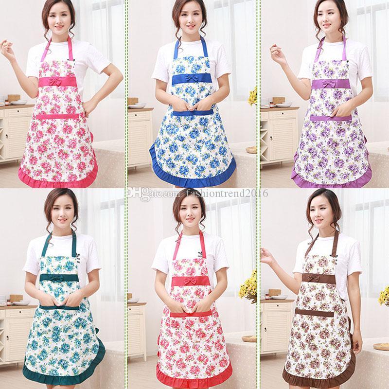 Pişirme Coffee Shop Temizleme Mutfak önlükleri Aksesuarları Pişirme ilmek Çiçek Desen Önlükler Kadın Yetişkin Önlükler Ev