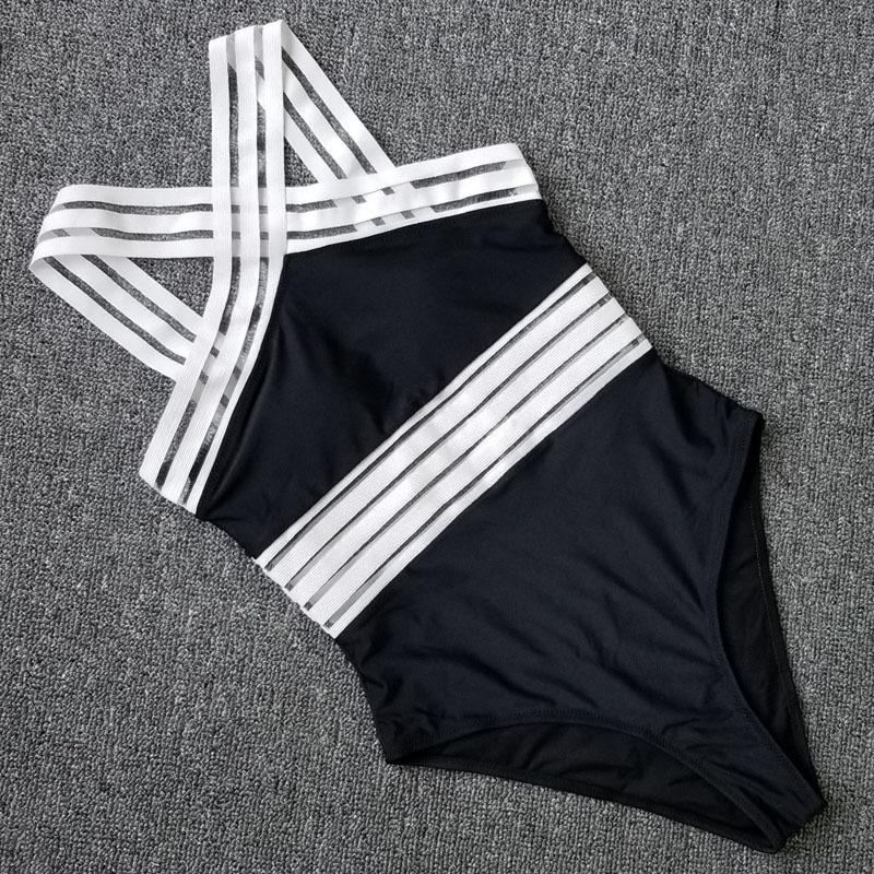 Sexy Mesh One Piece Swimsuit Swimwear Women Push Up Monokini Plus Size Bathing Suit Female Beach Black Bodysuit Swim Suit Bather Y19072401