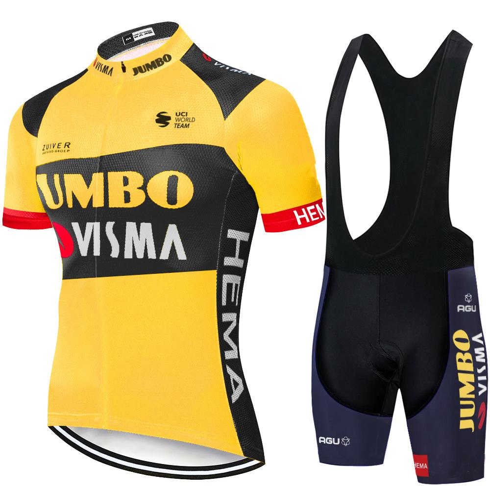 Cycling Jersey Set 2020 Pro Team Jumbo visma Cycling Clothing Summer MTB bike Jersey bib shorts kit Ropa Ciclismo