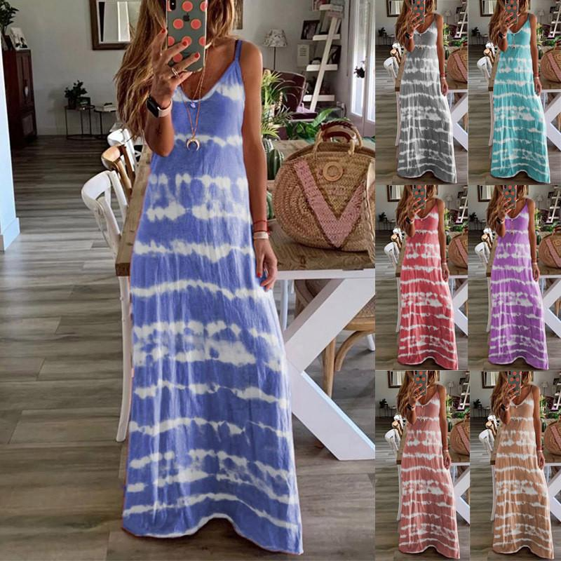 S-5XL 플러스 사이즈 여성 스트라이프 인쇄 로브 여름 민소매 V 넥 루즈 롱 드레스 그라데이션 우아한 숙녀 캐주얼 맥시 드레스