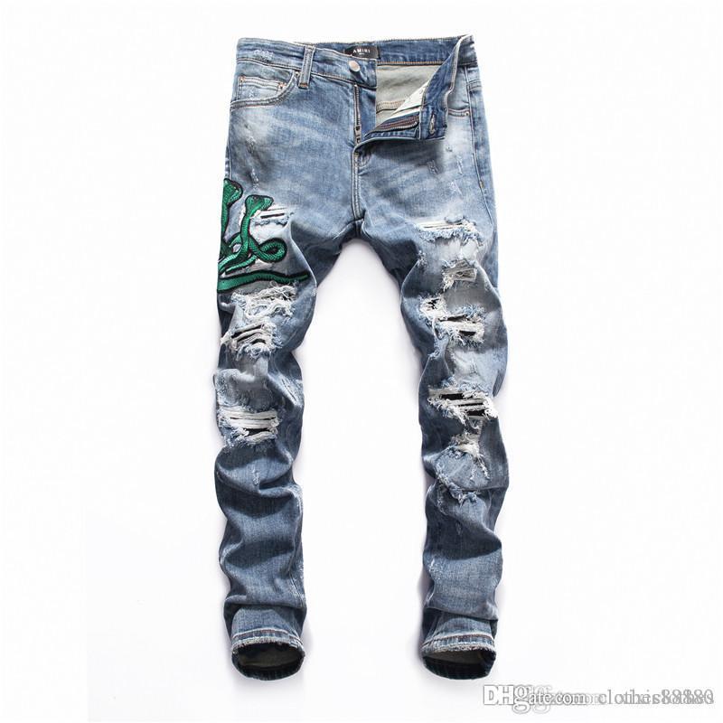 2020 jeans pour hommes de haute qualité design hommes de luxe jean lettres moto imprimé rue denim trou jean droit denim crainte de Dieu