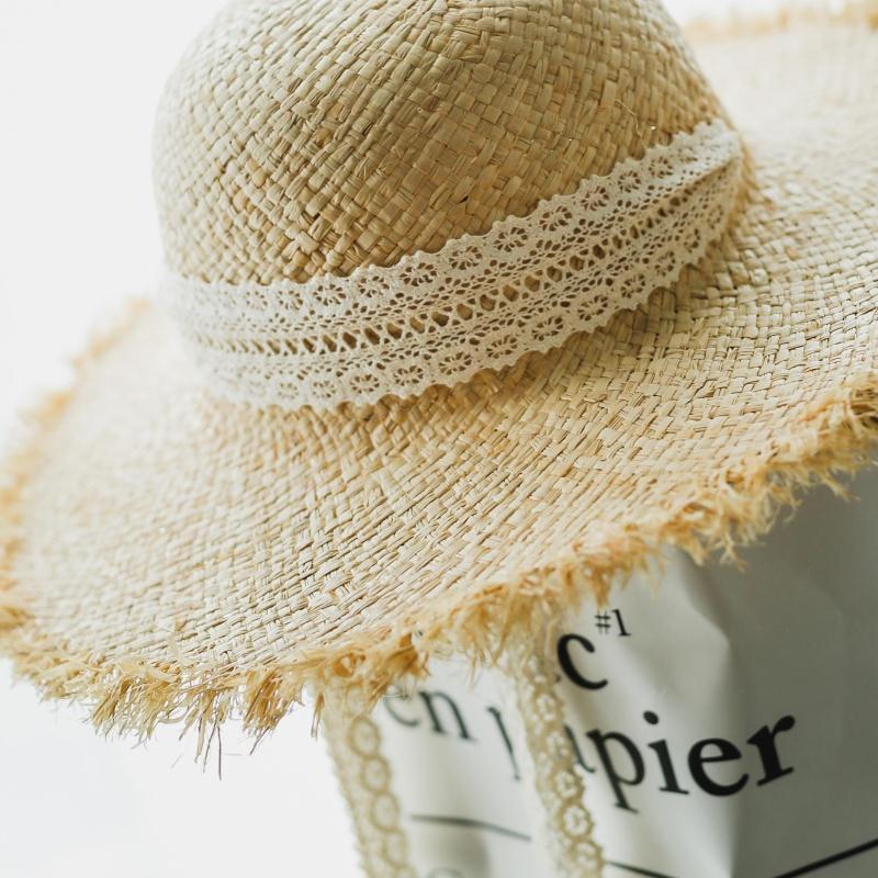 INS الأزياء رافي سترو قبعة في الهواء الطلق الصيف المرأة شاطئ أحد القبعات جميل اليدوية الرباط القبعات ضمادة على نطاق واسع بريم هات