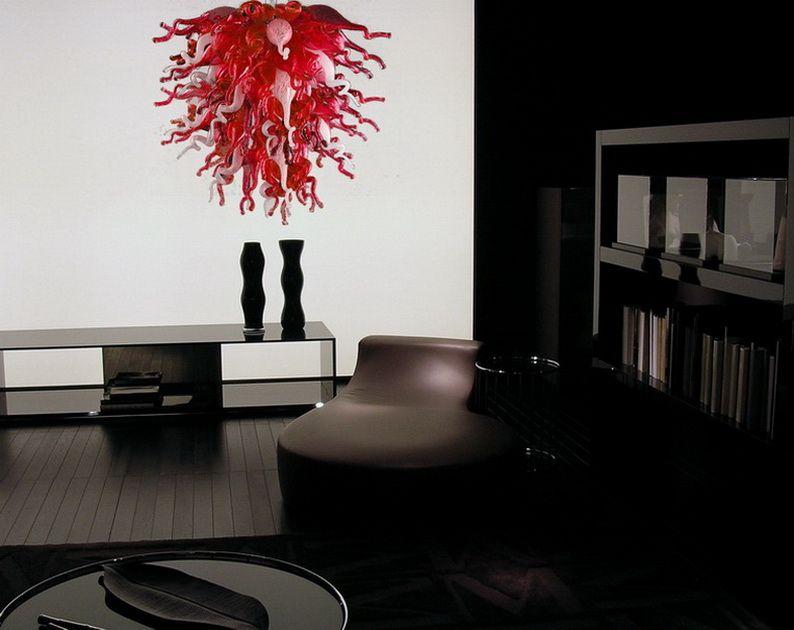 Modern Mini Mutfak Avize LED Işık Kaynağı Özelleştirilmiş Boyutu Dale Kırmızı Beyaz El Üflemeli Cam Ucuz Tavan Işıkları