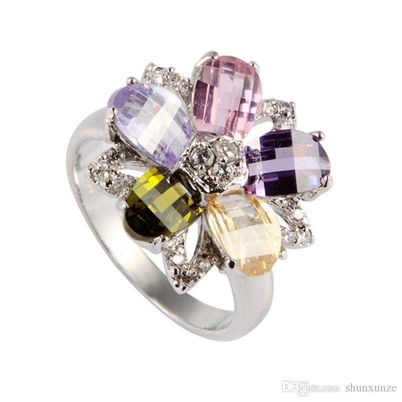 SHUNXUNZE Rave Comentários de jóias Europeia anéis de casamento para as mulheres Peridot rosa Morganite azul Cubic tamanho Zirconia ródio R417 6 7 8 9