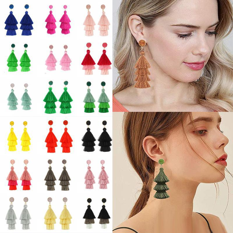 Arbeiten Sie Troddel-Ohrringe für Frauen-Tropfen baumeln böhmische bunte Layered Tiered Thema Fringe-Bolzen-Ohrringe Statement Schmuck