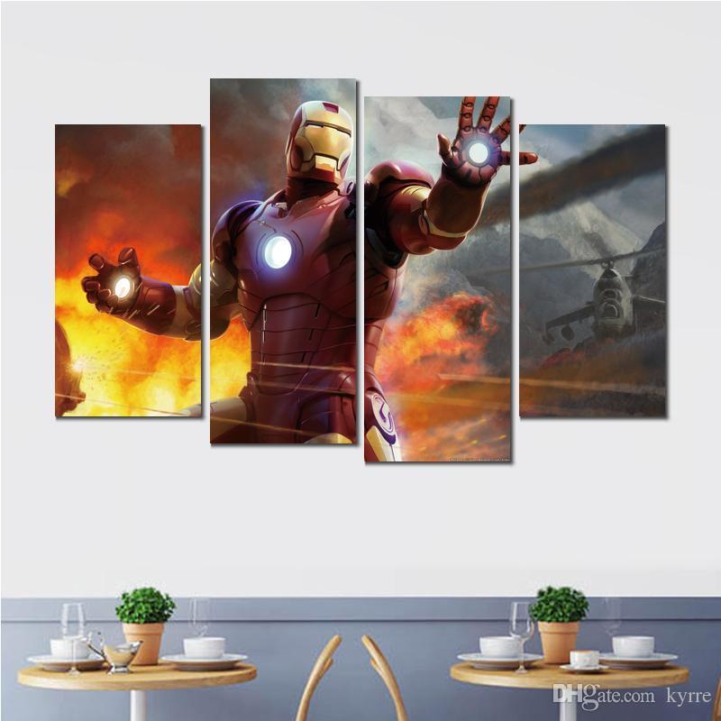 Iron Man jeu 4 panneaux toile imprimée peinture photos pour décoration murale