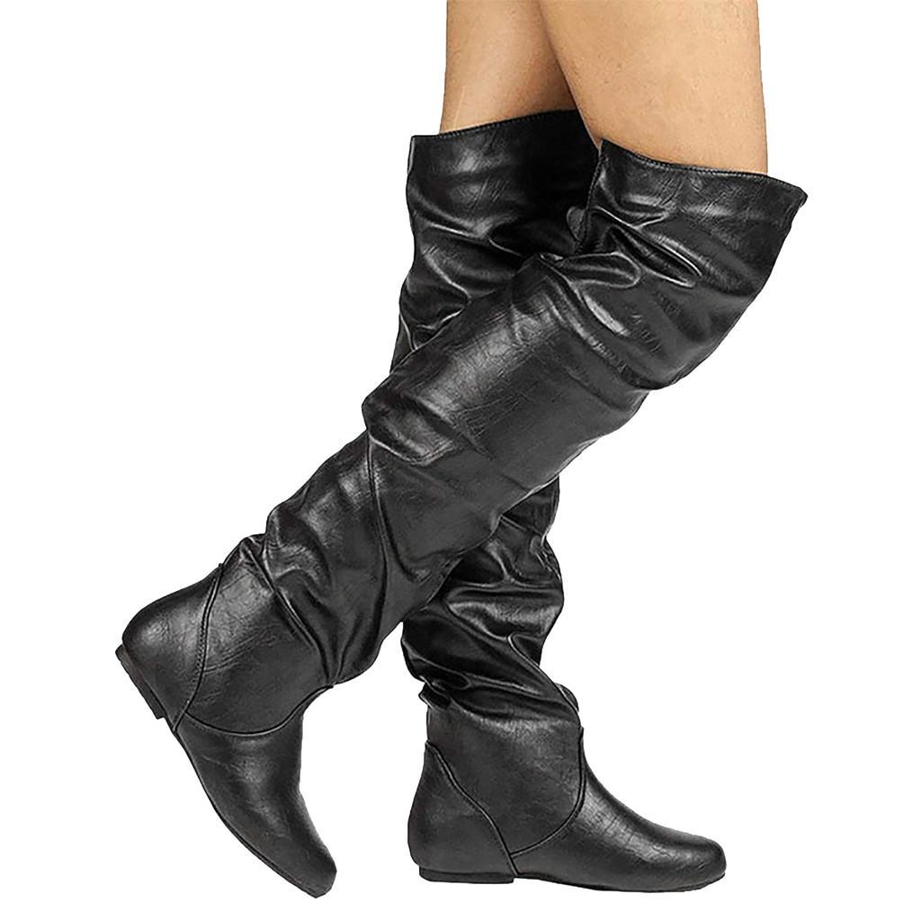 2019 Nouveau Femmes Chevalier Bottes genou en cuir haute Bottes d'équitation Lady Casual Bottes Flat Black Brown Femme Basic long bottillons Big Taille