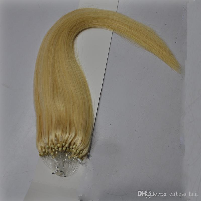 "Elibess Shop Hot Sale 12"" -26' 100G 100% Remy brasilianisches Haar Blonde Farbe 613 # Micro Loop-Ring-Haar-Verlängerungen"